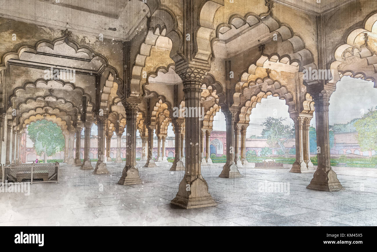Agra fort diwan i khas architecture illustration sketch for Diwan i khas agra fort