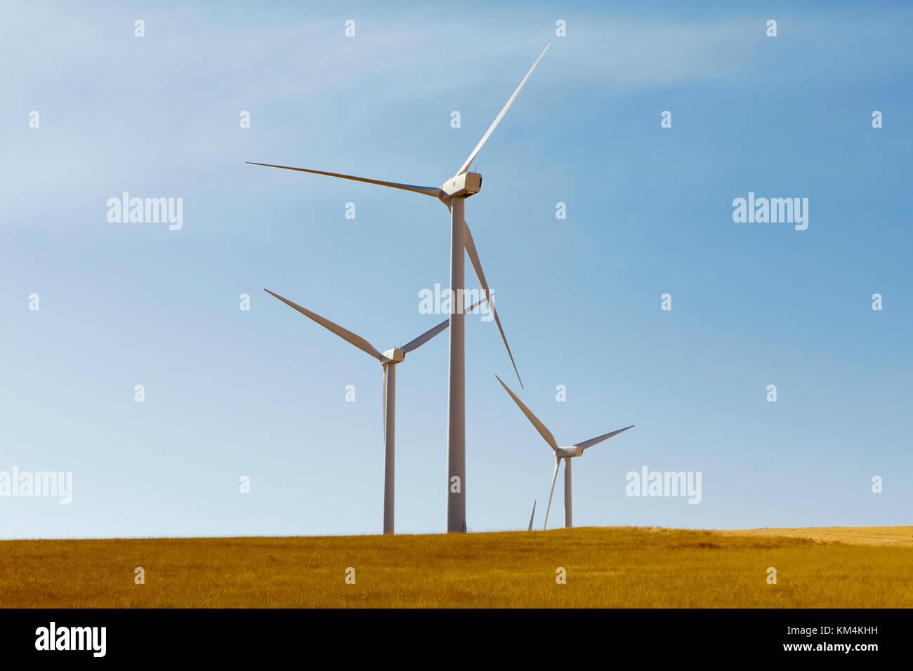 Tall wind turbines in open country farmland in Washington. - Stock Image