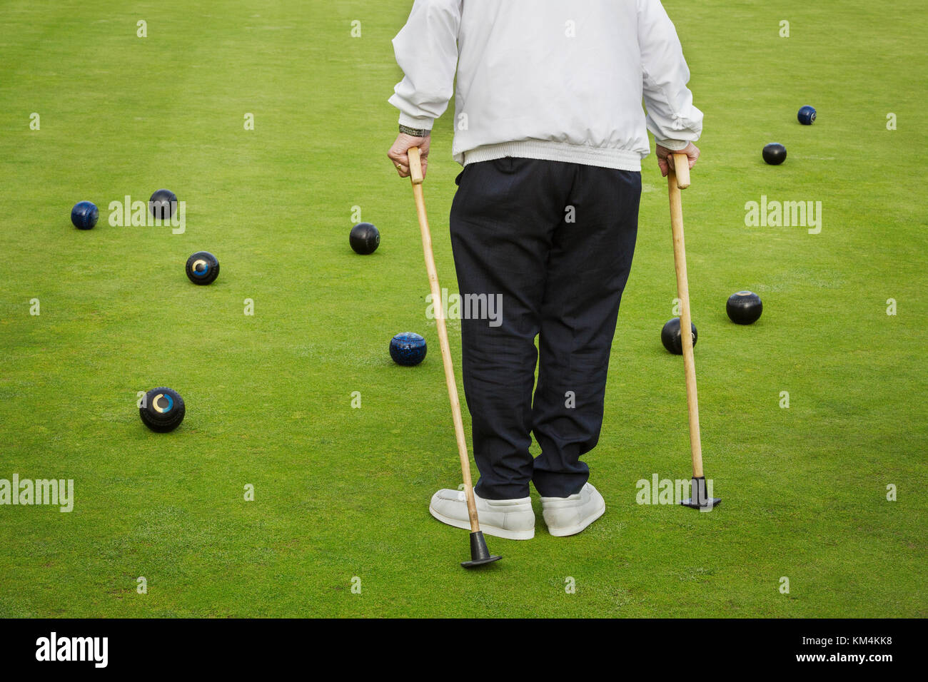 A man with two walking sticks standing on a lawn bowls green, with bowls balls clustered around him. - Stock Image