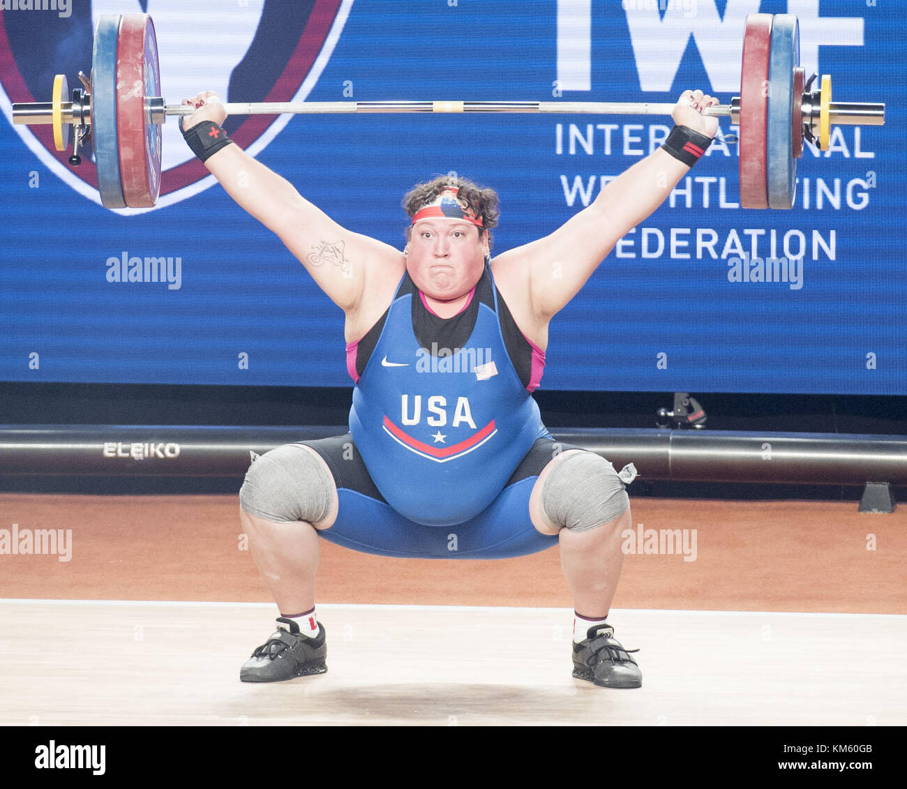 Anaheim, California, USA. 5th Dec, 2017. Sarah Robles, of the United States, competes in the Snatch Lift. Sarah - Stock Image