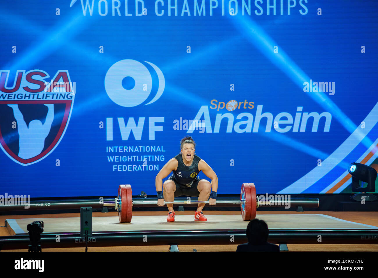 Anaheim, NOV 30: 2017 Strenius Patricia Caroline in International Weightlifting Federation World Championships on - Stock Image