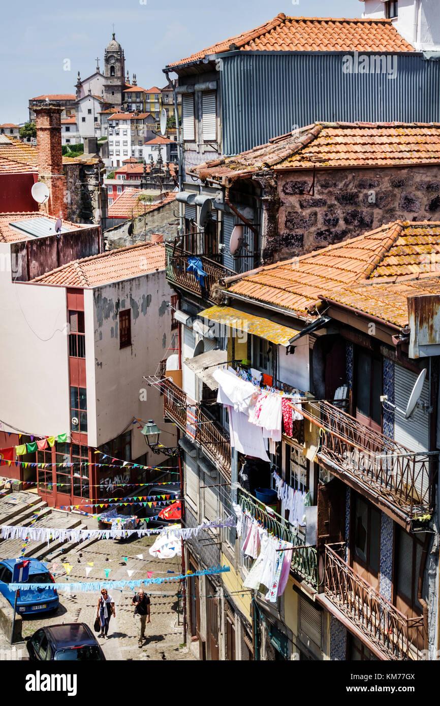 Porto Portugal Baixa residential apartment building city skyline rooftops ceramic tiles historic center buildings - Stock Image