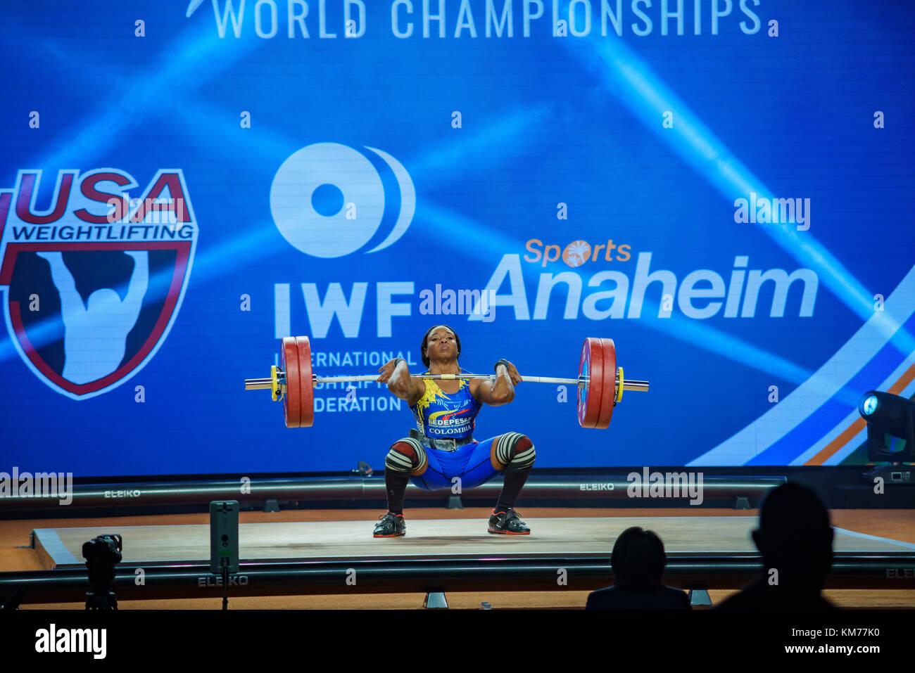 Anaheim, NOV 30: 2017 Mendoza Carabali Miyareth in International Weightlifting Federation World Championships on - Stock Image