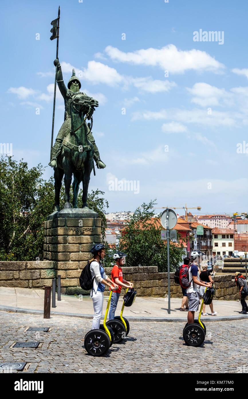 Porto Portugal historic center Se do Porto Porto Cathedral equestrian statue Vimara Peres Christian knight armor - Stock Image