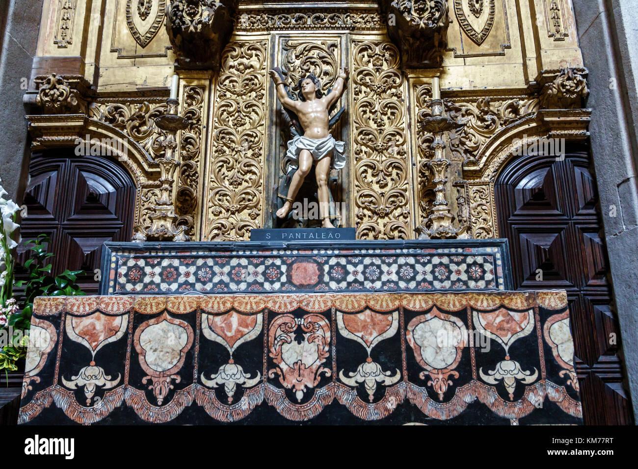 Porto Portugal historic center Se do Porto Porto Cathedral Roman Catholic church interior altar religious statue - Stock Image