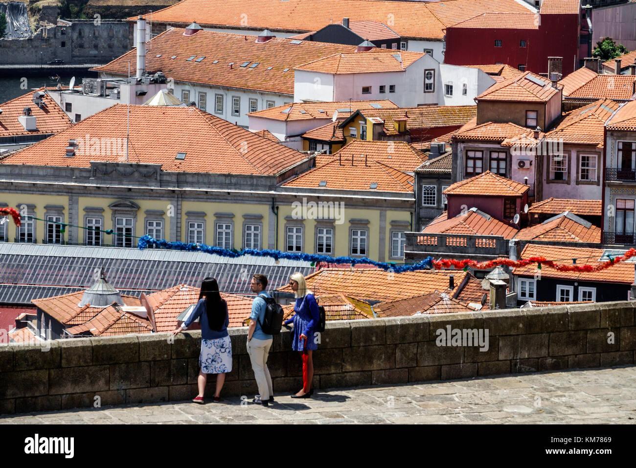 Porto Portugal Douro River Barrio La Ribeira historic center residential apartment building city skyline rooftops - Stock Image