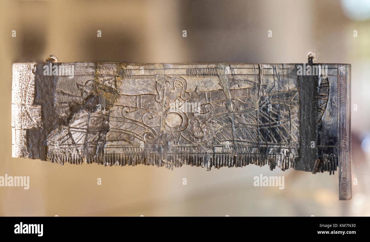 Badajoz, Spain - January 29, 2017:Phoenician ivory comb from Tartesian necropolis of Medellin, Badajoz, Spain - Stock Image