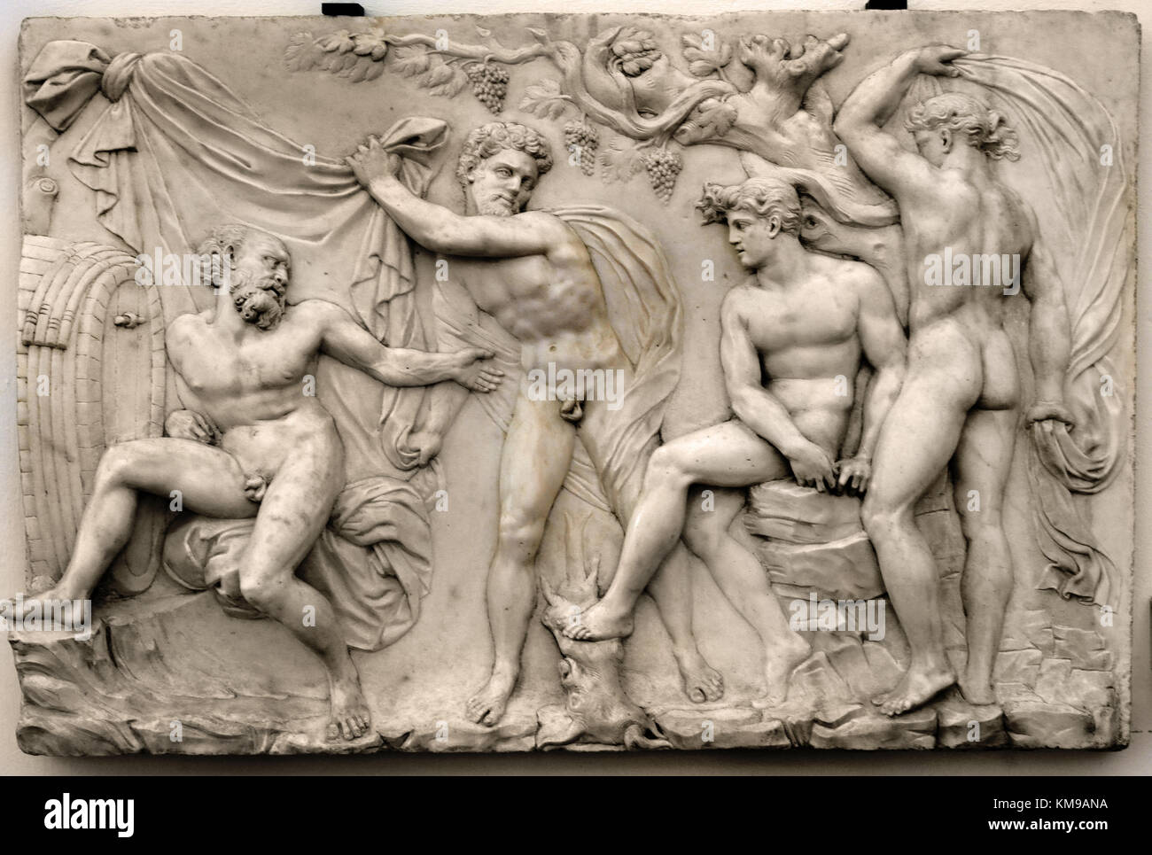 Drunkenness of Noah 1539 Baciio Bandinelli Italian 1493-1560. Carrara marble relief. National Museum of Bargello - Stock Image