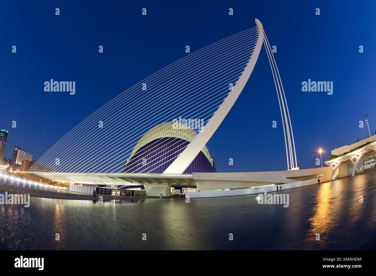 Agora, Puente de l Assut, bridge, City of sciences, Calatrava, Valencia, Spain - Stock Image