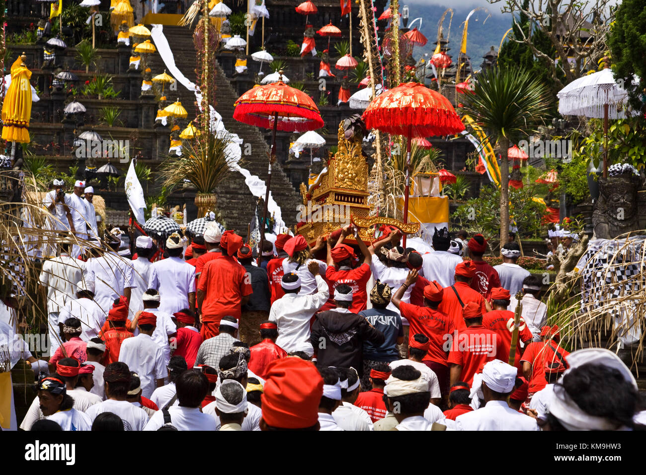 Panca Wali Krama, holy Celebration at Besakih temple every ten years, Bali, Indonesia - Stock Image