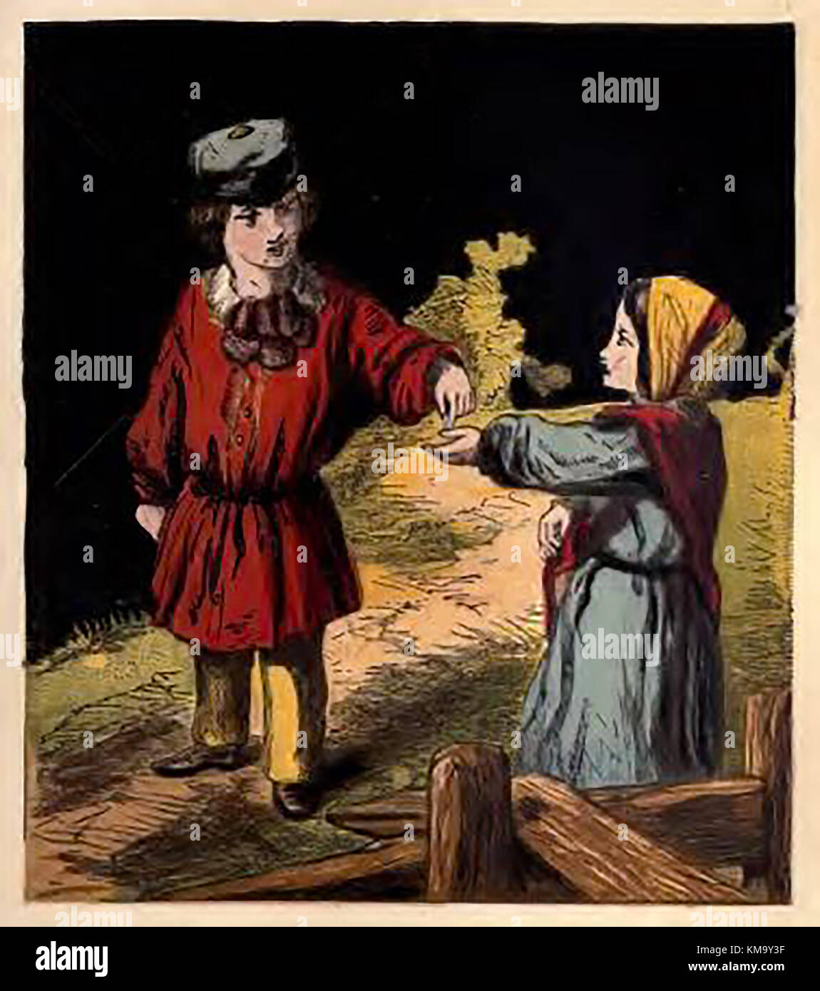 Illustration from a Victorian children's coloured book of occupations and pastimes. A child giving money to - Stock Image