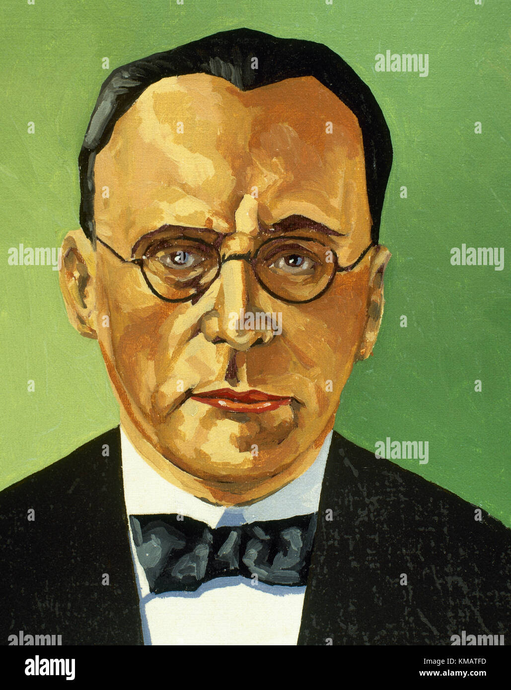 Anton von Webern (1883-1945). Austrian composer and conductor. Member of the Second Viennese School. Portrait. Watercolor. - Stock Image