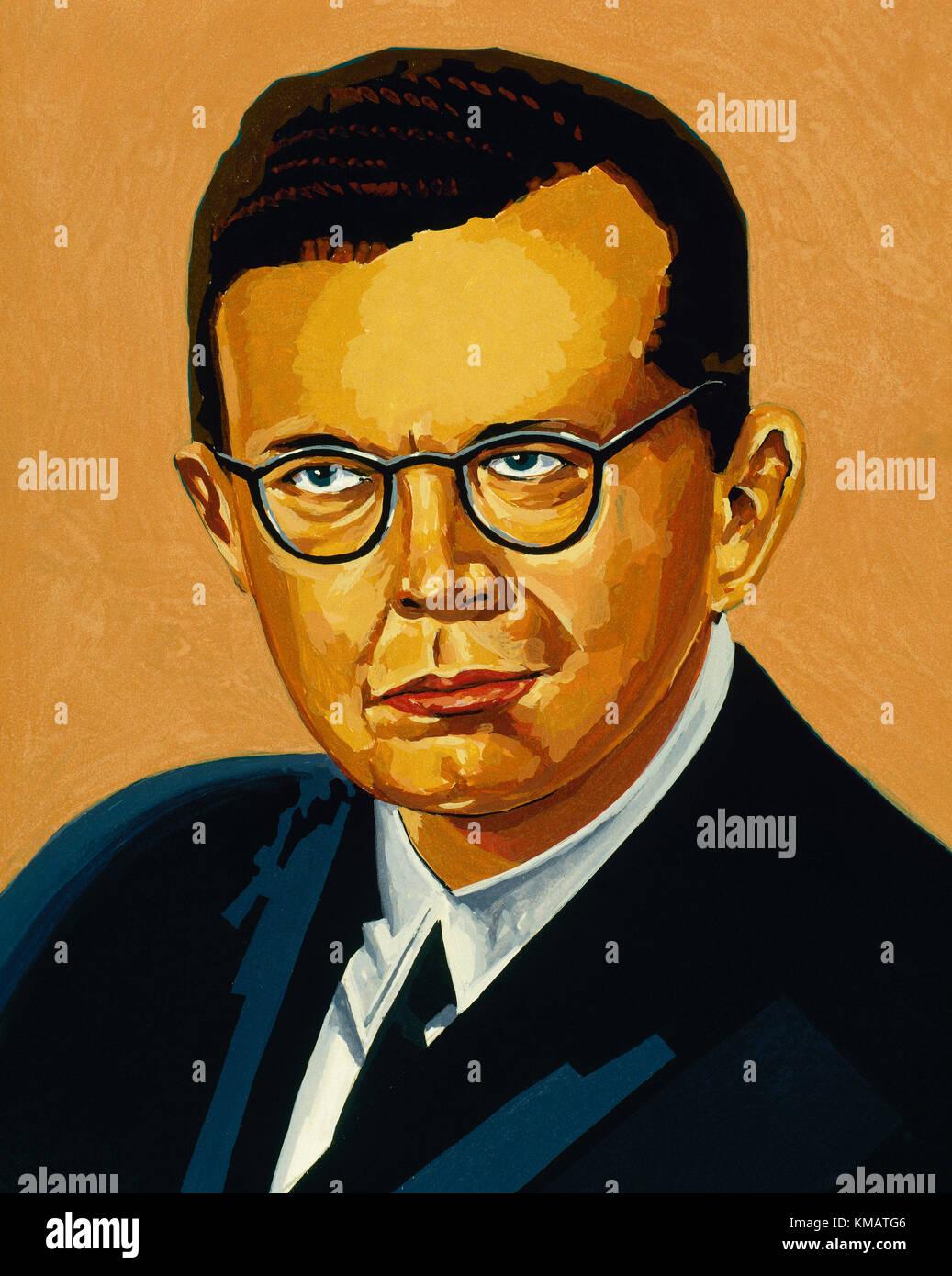 Dmitri Shostakovich(1906-1975). Russian composer and pianist. Portrait. Watercolor. - Stock Image