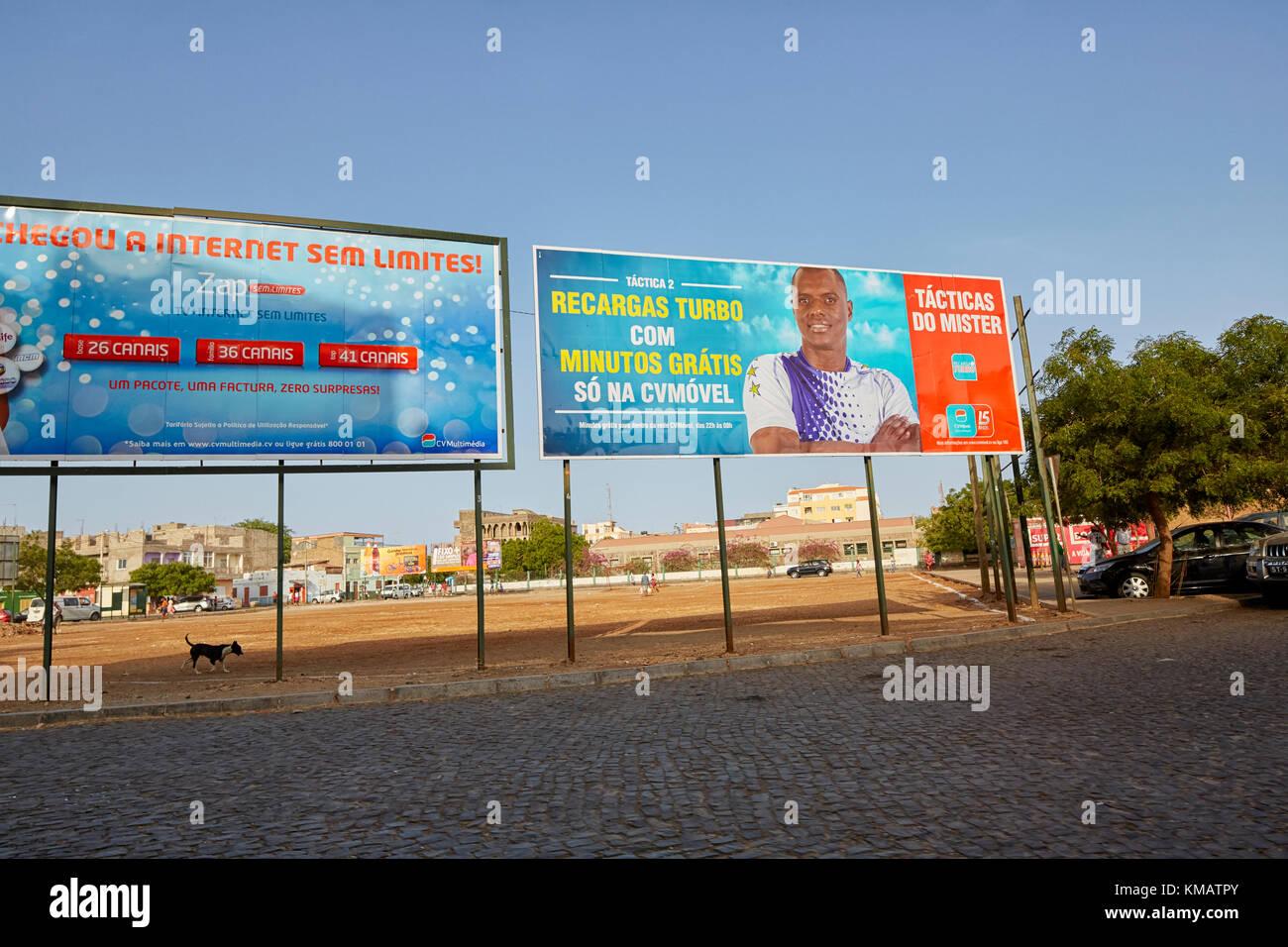 Advertising billboards Praia, Santiago, Cape Verde (Cabo Verde), Africa - Stock Image