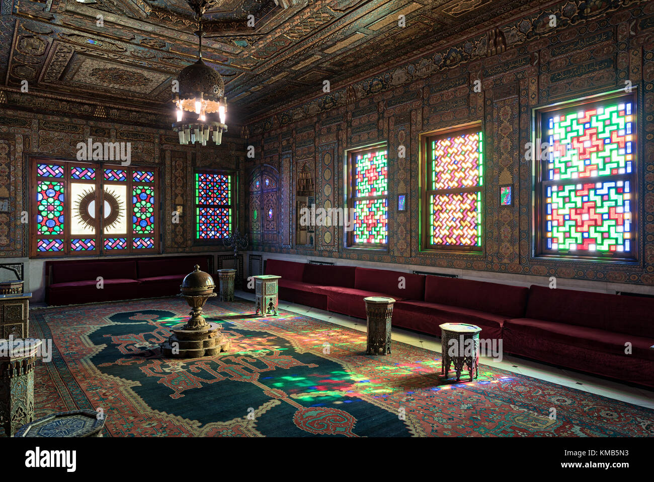 Cairo, Egypt - December 2 2017: Manial Palace of Prince Mohammed Ali. Syrian Hall with ornate wooden wall and ceiling, - Stock Image