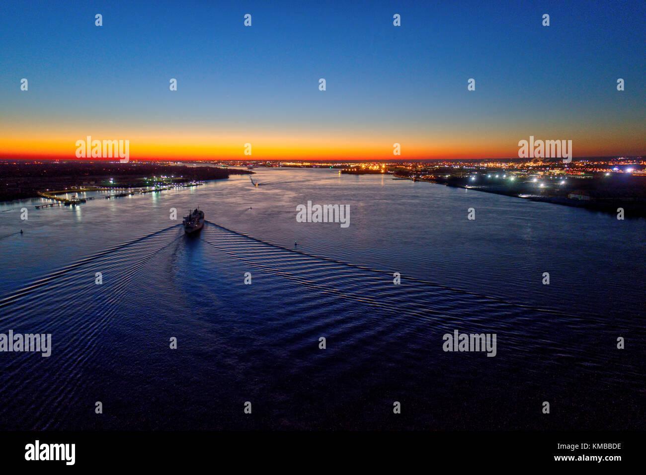 Aerial View of Sunset Over Delaware River Philadelphia PA - Stock Image
