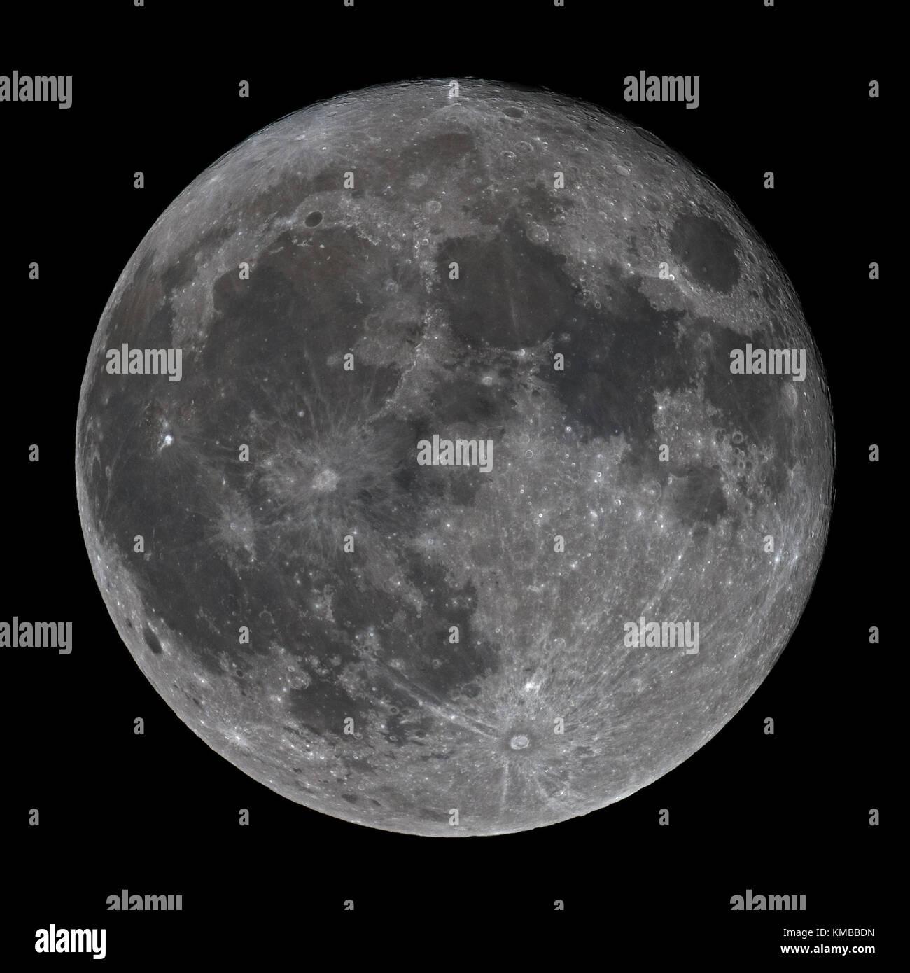 Super Full Moon December 3, 2017 - Stock Image