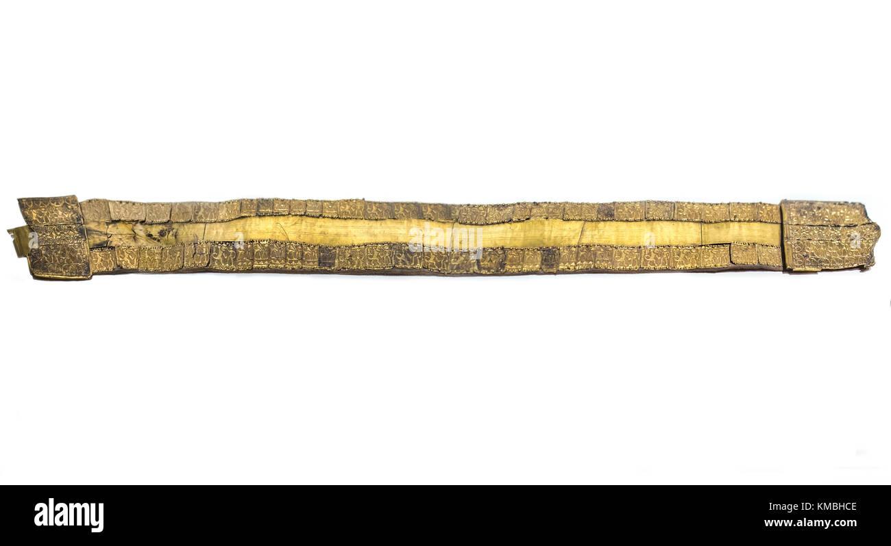 Madrid, Spain - November 10, 2017: Golden Belt from tartessos treasure of Aliseda. National Archaeological Museum - Stock Image