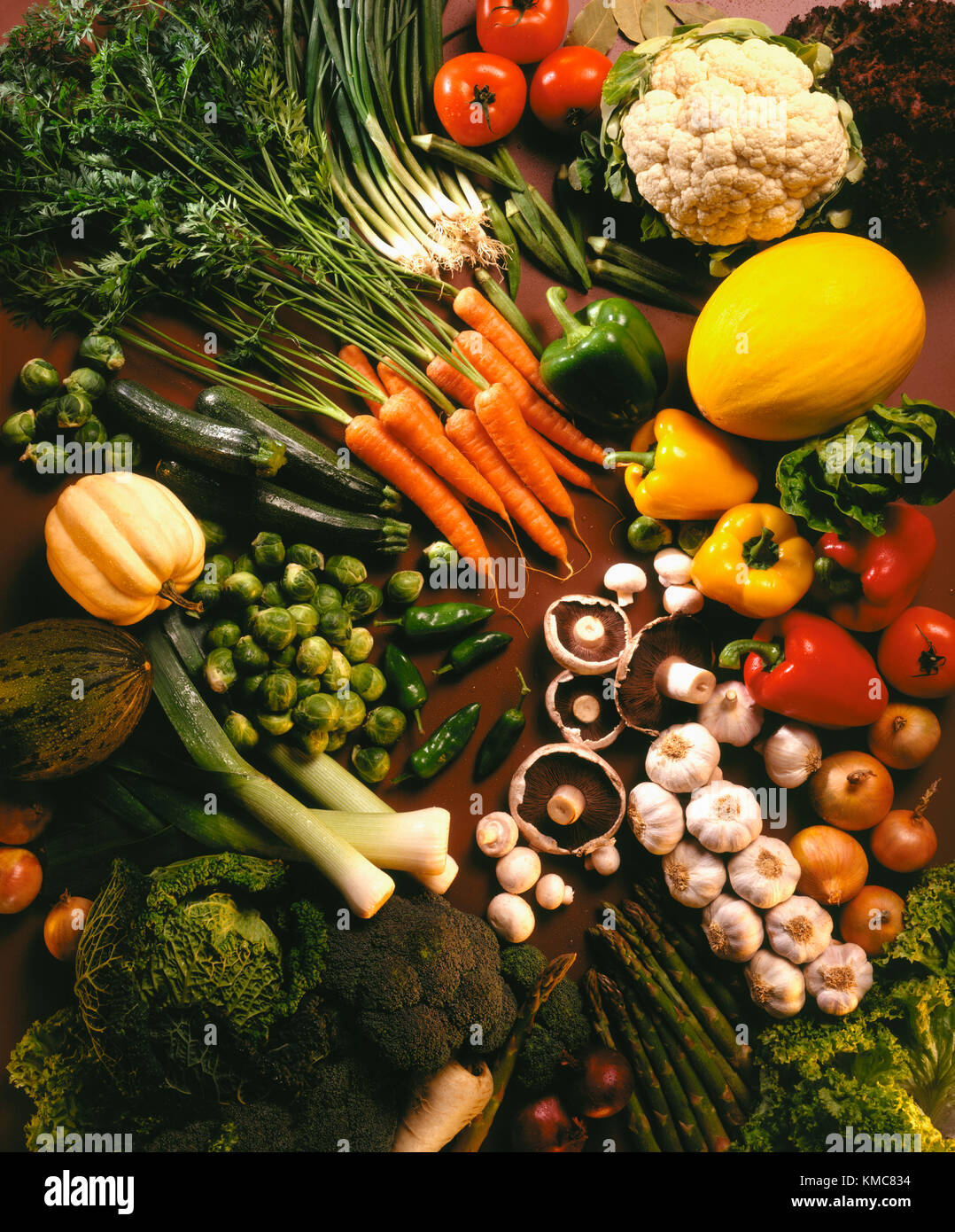 A selection of fresh vegetables - Stock Image