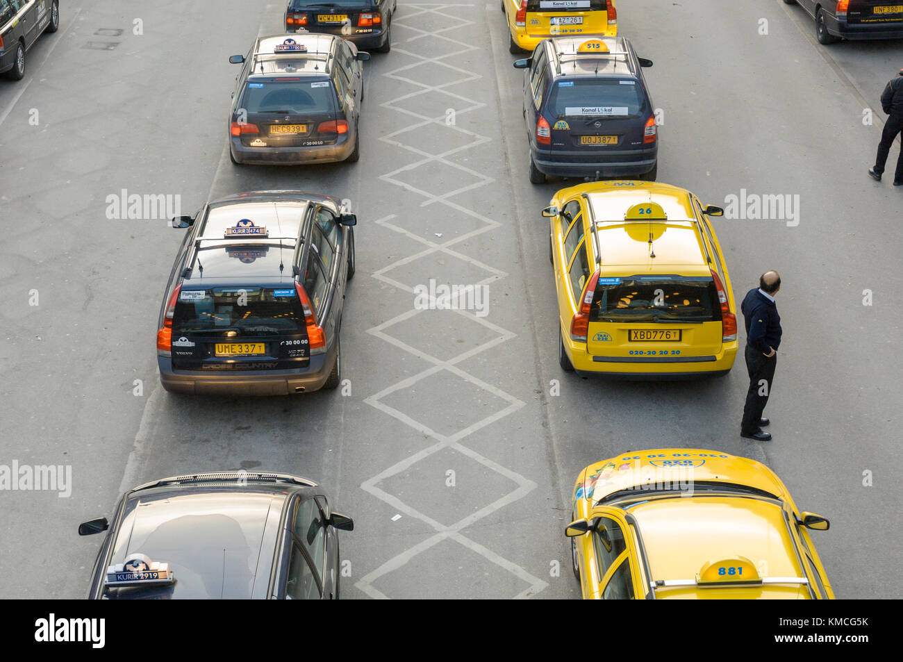 Taxis on duty at Central Station are waiting for a drive Stockholm, Sweden. - Stock Image