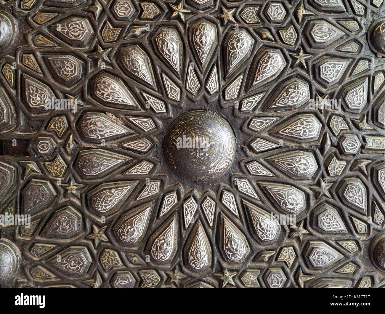 Ornaments of the bronze-plate ornate door of the residence hall of Manial Palace of Prince Mohammed Ali Tewfik, - Stock Image