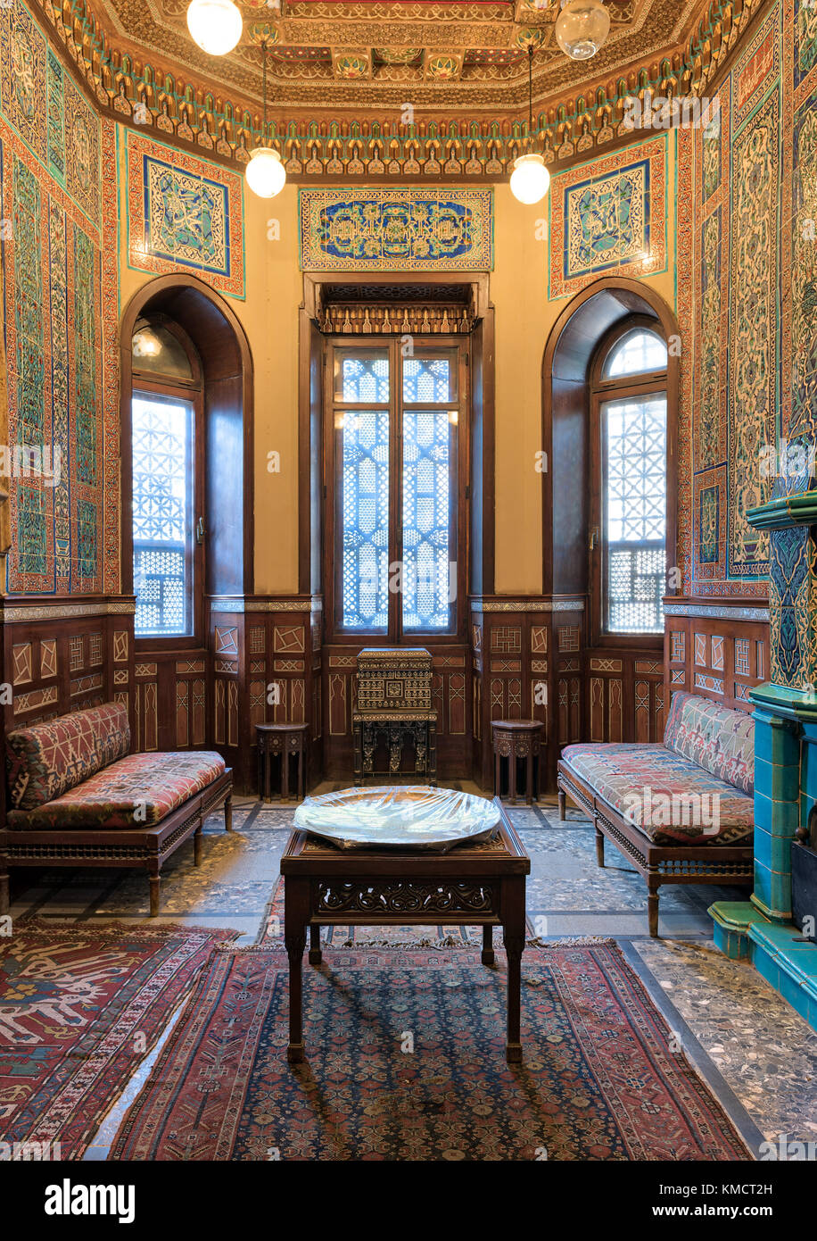 Cairo, Egypt - December 2 2017: Manial Palace of Prince Mohammed Ali. Winter room at the Residence Hall, with ornate - Stock Image