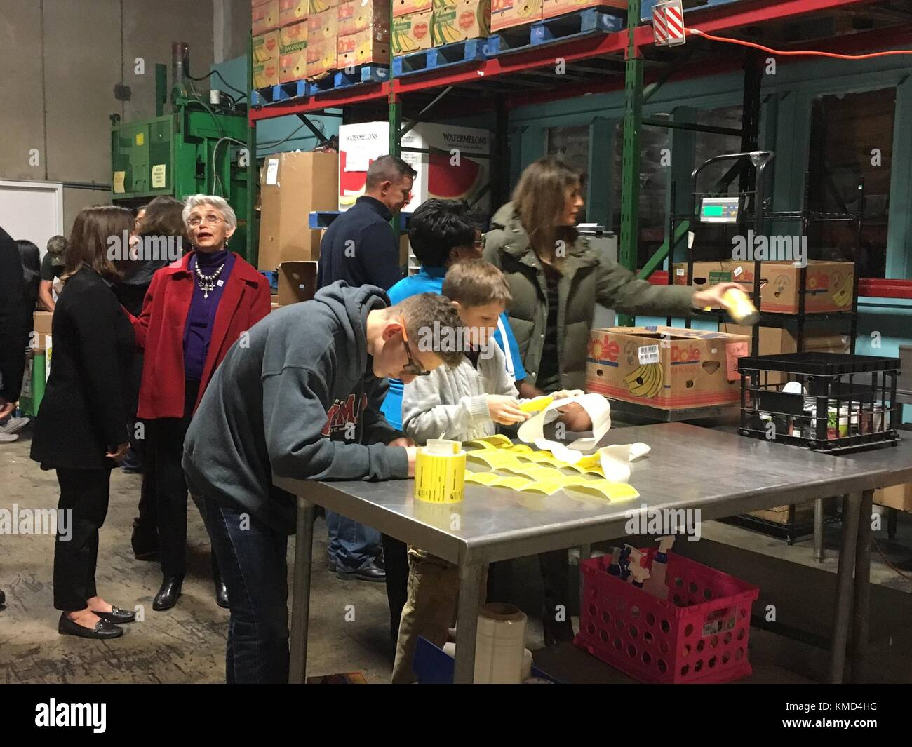 Texas, USA. 06th Dec, 2017. U.S. First Lady Melania Trump, right, and Karen Pence, left, assist at the Coastal Bend - Stock Image