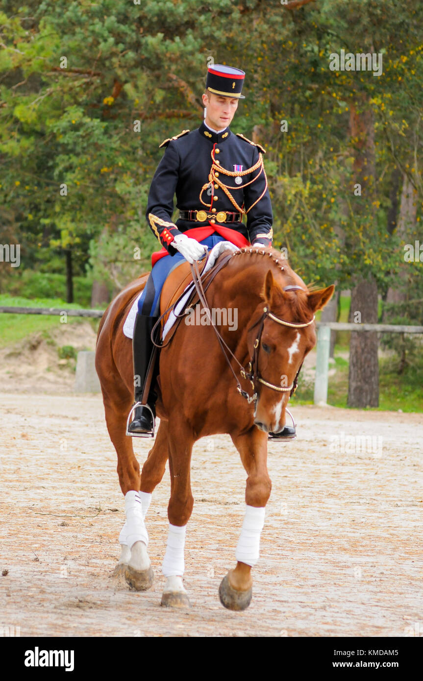 Mounted Republicans guards at training before public parade, Fontainebleau, France - Stock Image