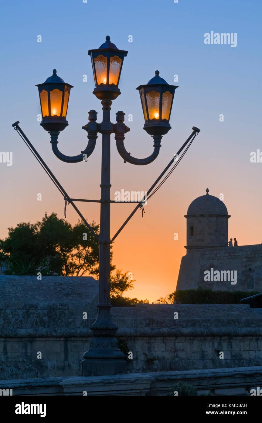 Street lamp and sentry post Valletta Malta - Stock Image