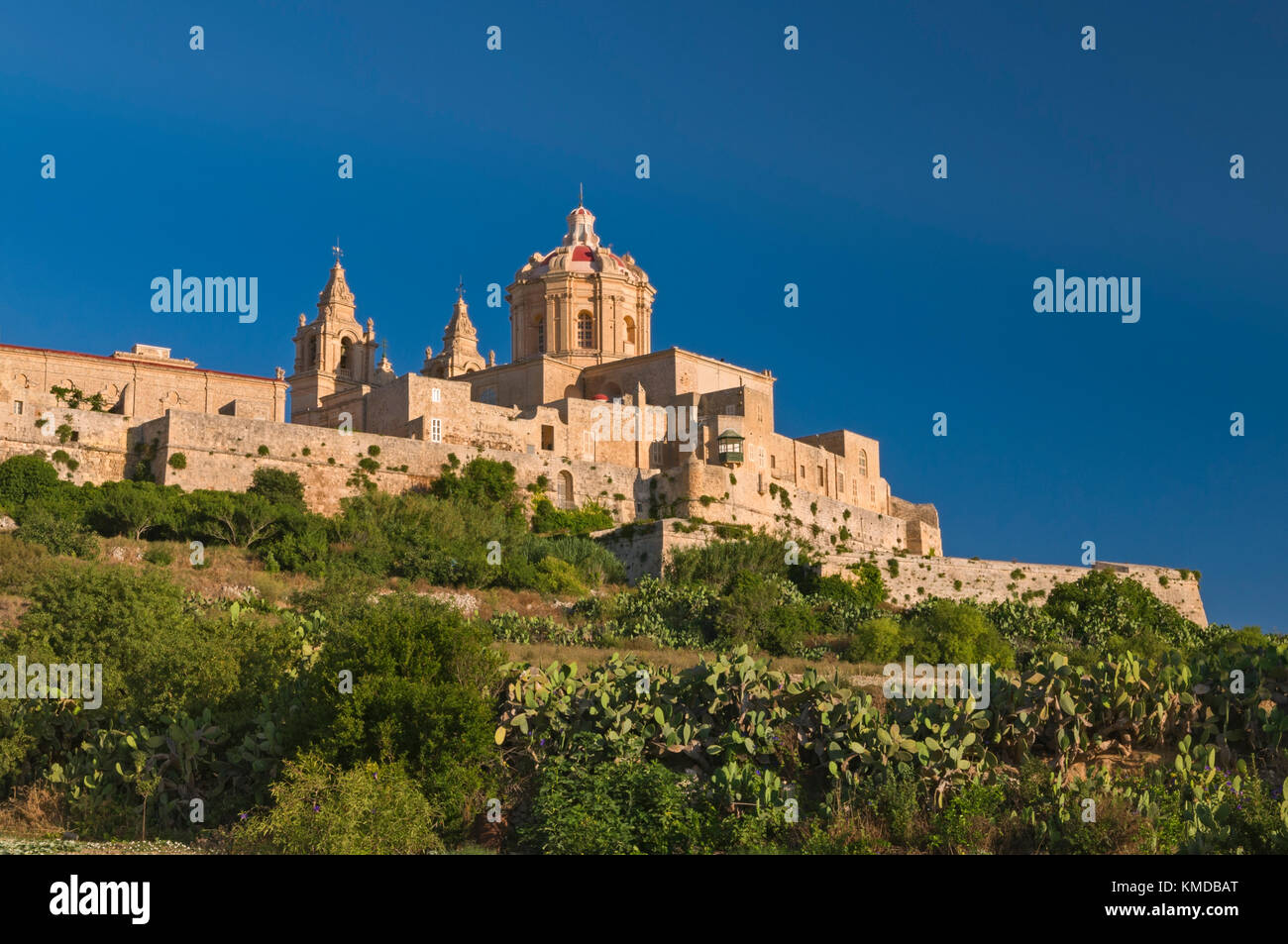 View to Cathedral Mdina Malta - Stock Image