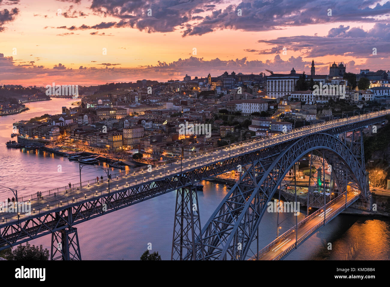 City view and Dom Luis I bridge Porto Portugal - Stock Image