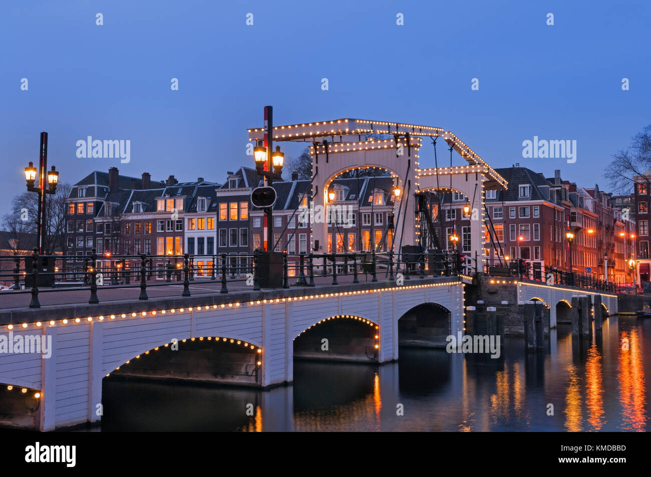 Magere Brug or Skinny Bridge Amsterdam Holland - Stock Image
