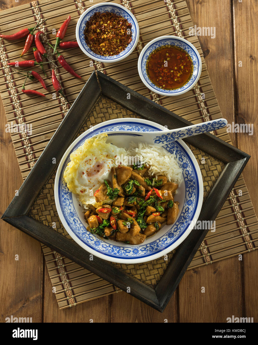 Thai basil chicken. Pad kra pao gai. Thailand Food - Stock Image