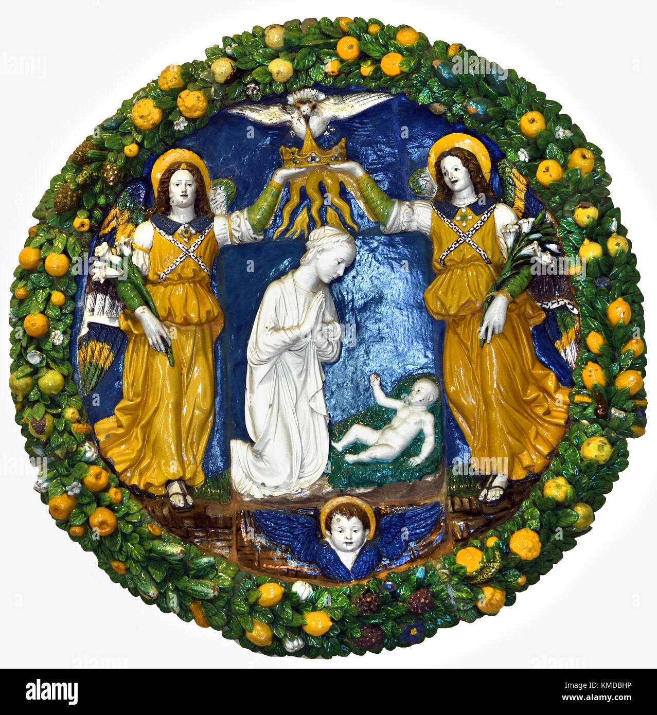 Frame with angels - 1500 approx Giovanni della Robbia 1469 - 1530  Glazed Terracotta  National Museum of Bargello, - Stock Image
