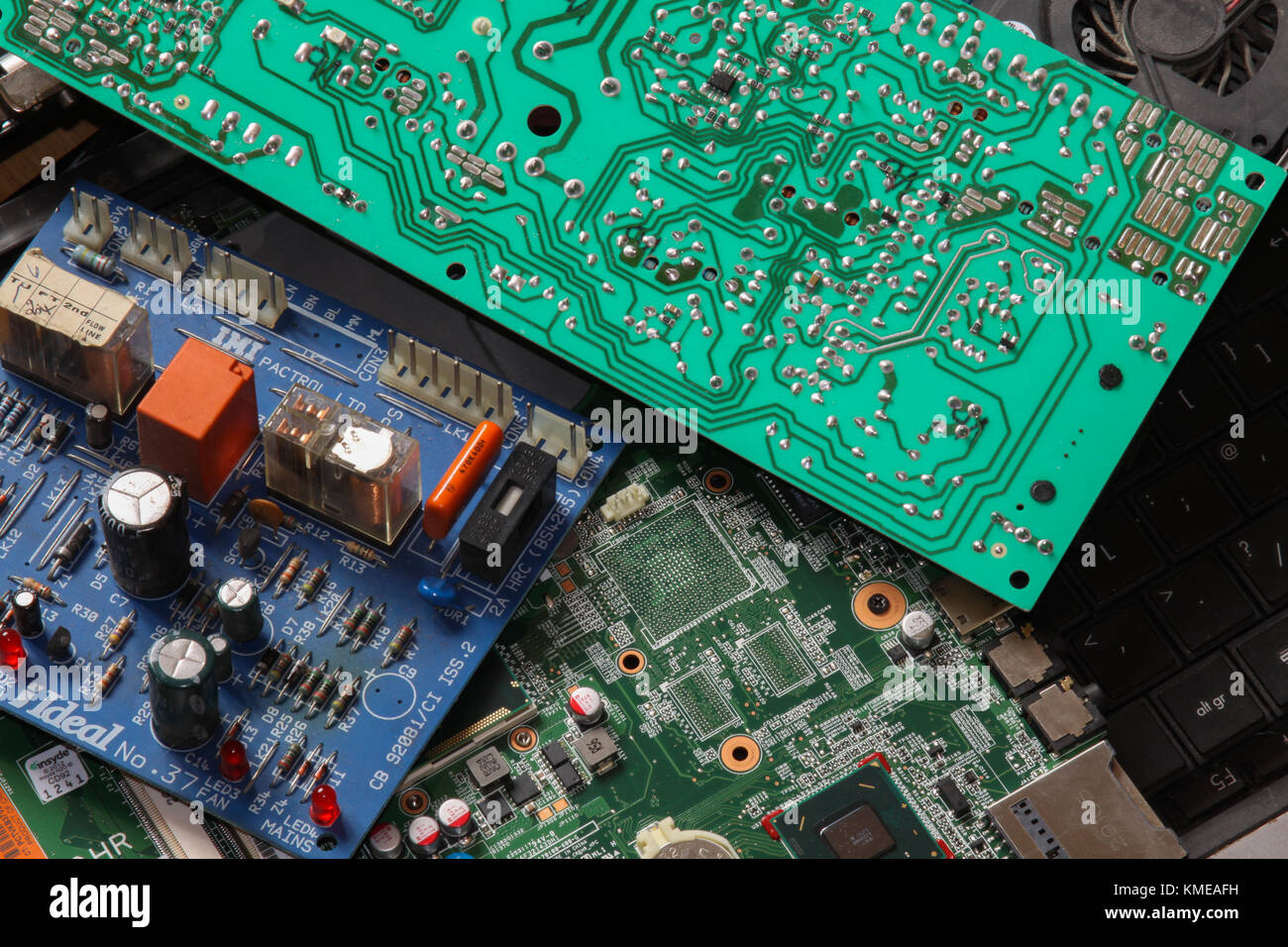 Waste circuit boards and computers. UK - Stock Image