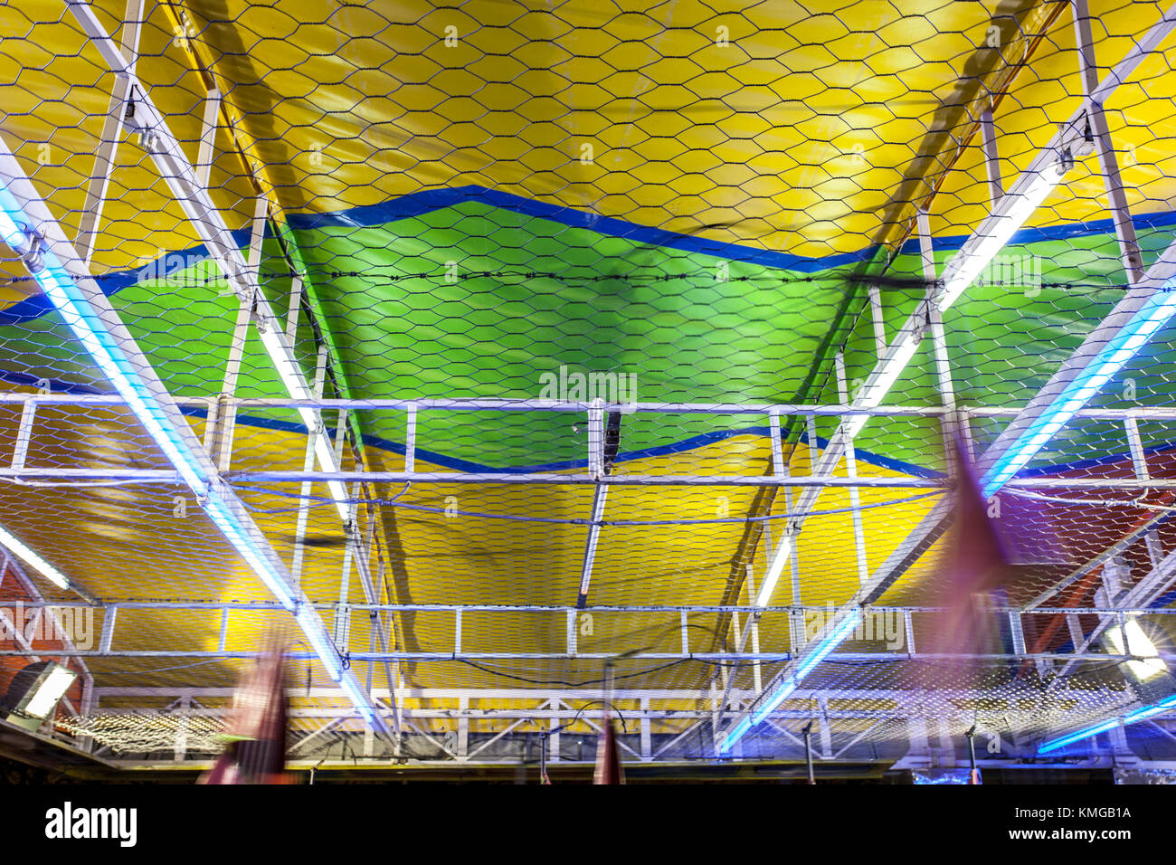 Bumper cars ceiling attraction. Low motion shot - Stock Image