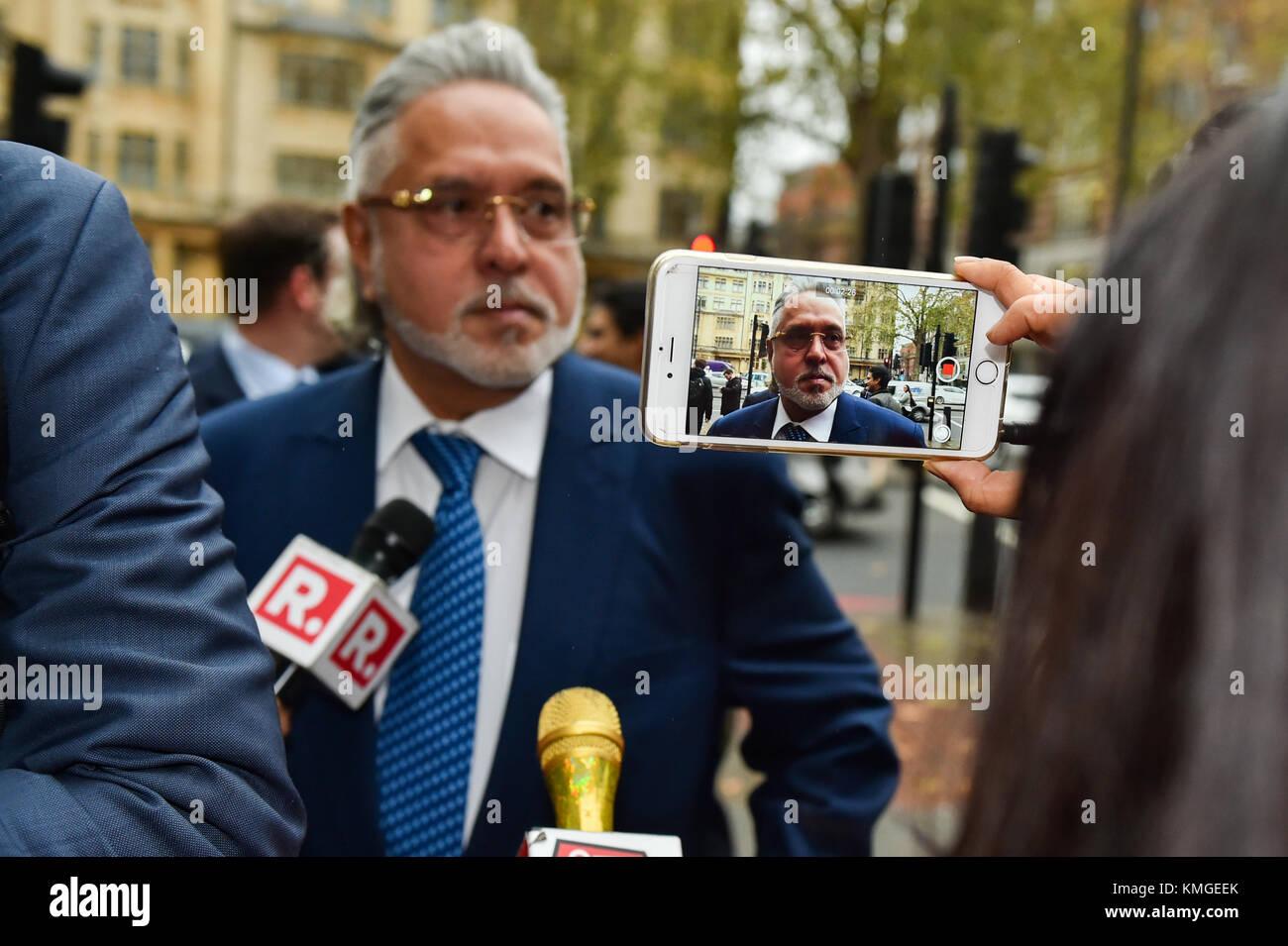 London, United Kingdom. 7th December 2017. Force India F1 boss Vijay Mallyae arrives at Westminster Magistrates' - Stock Image