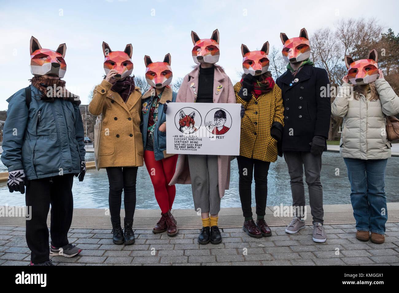 Edinburgh, Scotland, United Kingdom. 7 December, 2017. Scottish Green MSP Alison Johnston joined with animal welfare - Stock Image
