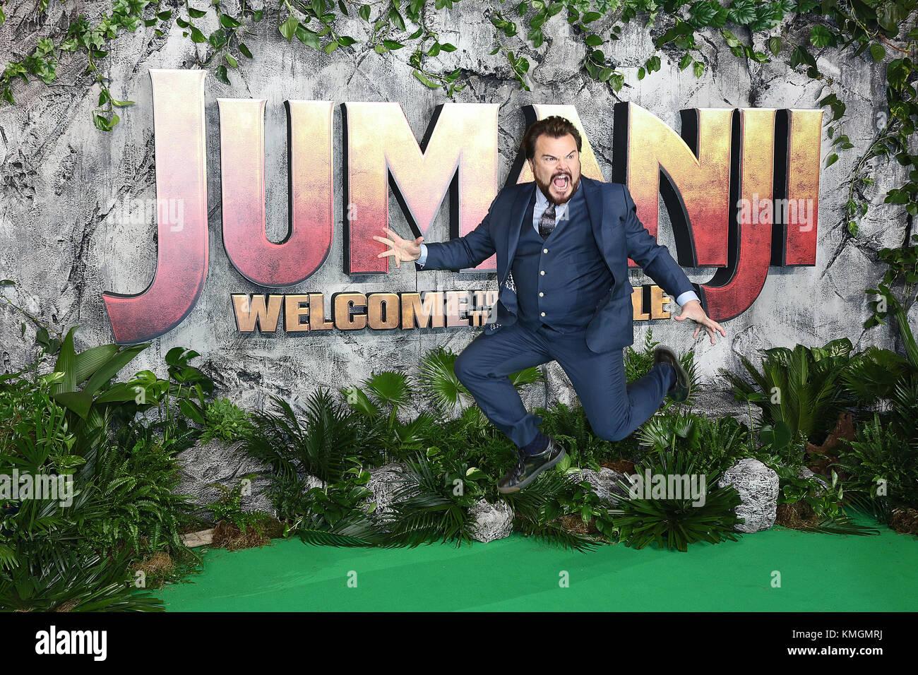 London, UK. 7th December, 2017. Jack Black, Jumanji: Welcome to the Jungle - UK Premiere, Leicester Square, London, - Stock Image