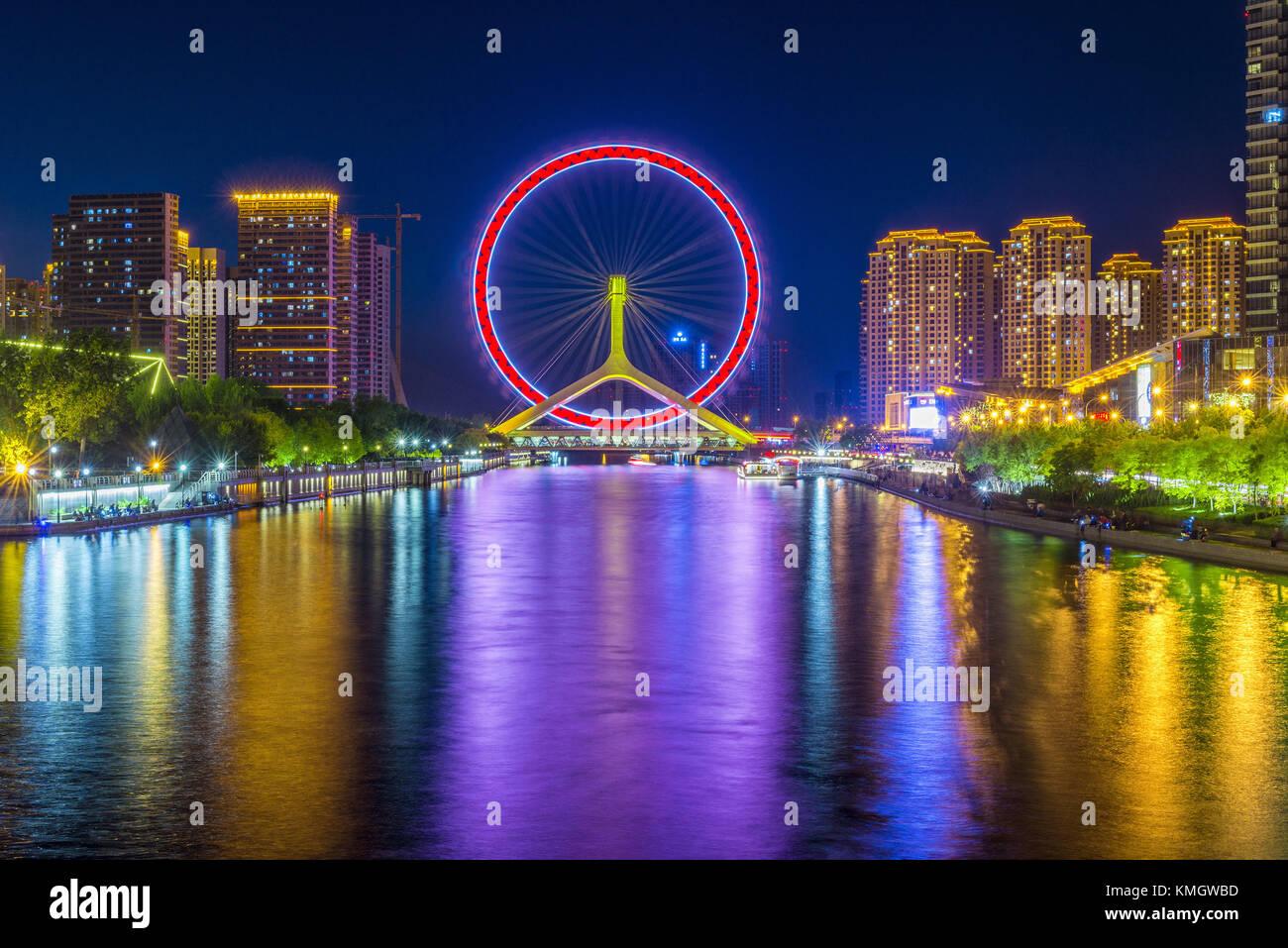 Tianjin, Tianjin, China. 8th Dec, 2017. The Tianjin Eye is a 120-metre (394 ft) tall giant Ferris wheel built above - Stock Image
