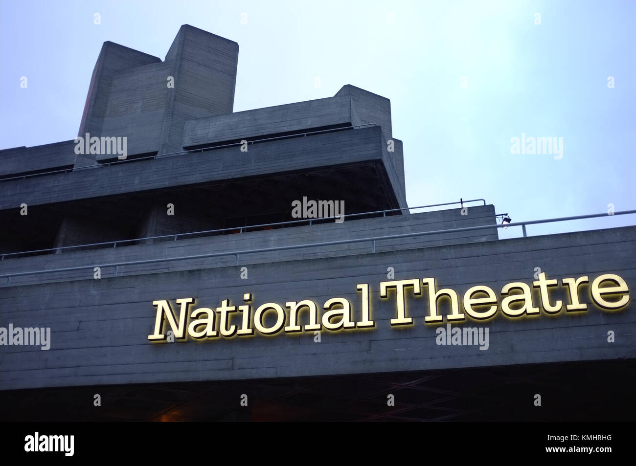 Exterior signage of the National Theatre, London, UK, December 4, 2017 - Stock Image