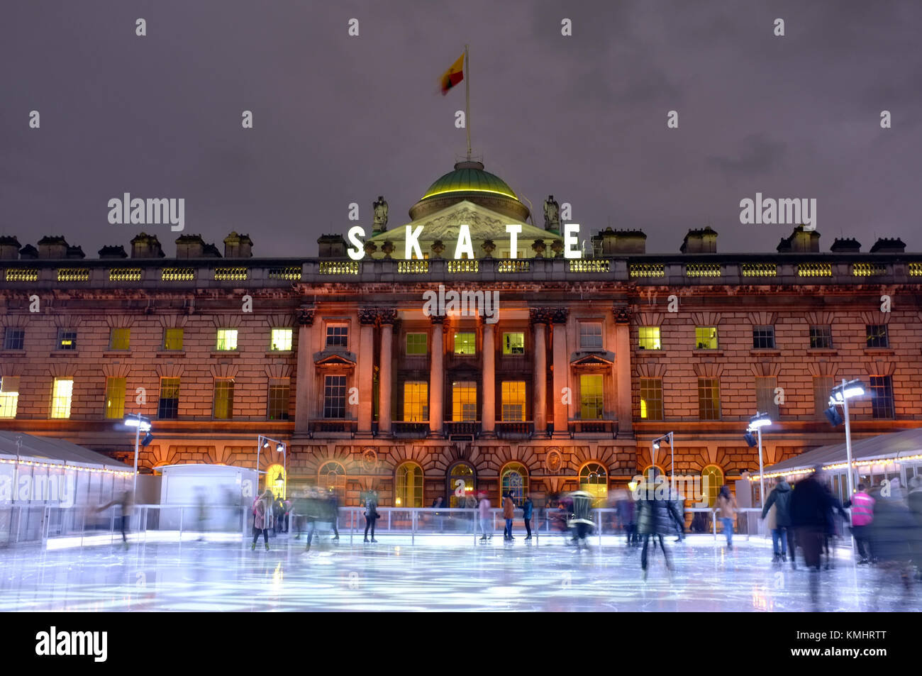 Ice skating rink in the courtyard of Somerset House, London, UK, December 4, 2017 - Stock Image
