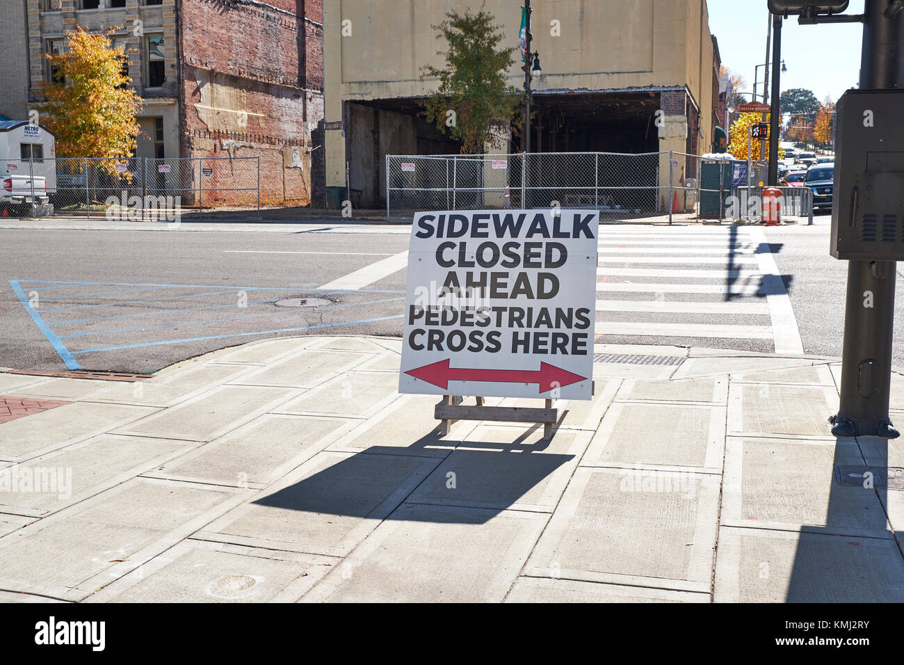 Closed sidewalk in the downtown urban redevelopment area in the city of Montgomery Alabama, USA. - Stock Image