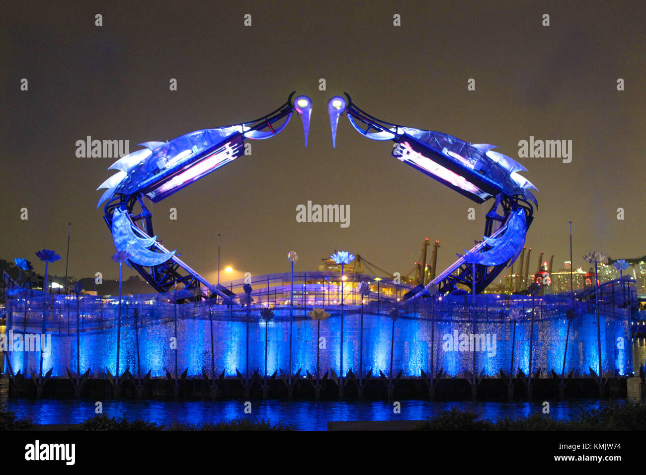 'Crane Dance' Lights and Water Show at Sentosa Island, Singapore - Stock Image