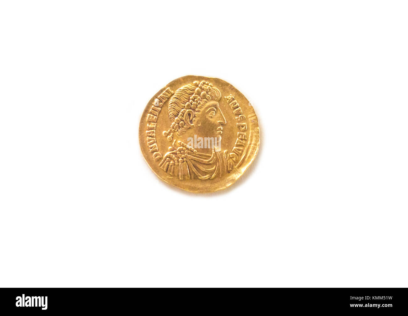 Valentiniano Golden Solid coin. Year 375 A.C. Isolated over white background - Stock Image