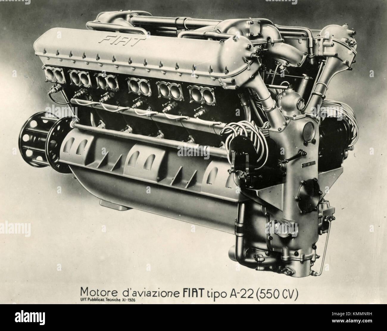 FIAT aviation engine A.22 (550 CV), Italy 1920s - Stock Image