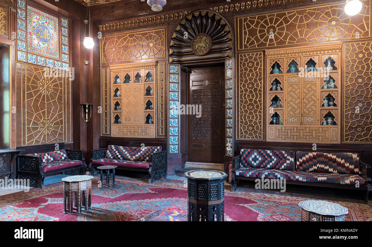 Cairo, Egypt - December 2 2017: Manial Palace of Prince Mohammed Ali. Guests Hall with wooden ornate ceiling, wooden - Stock Image