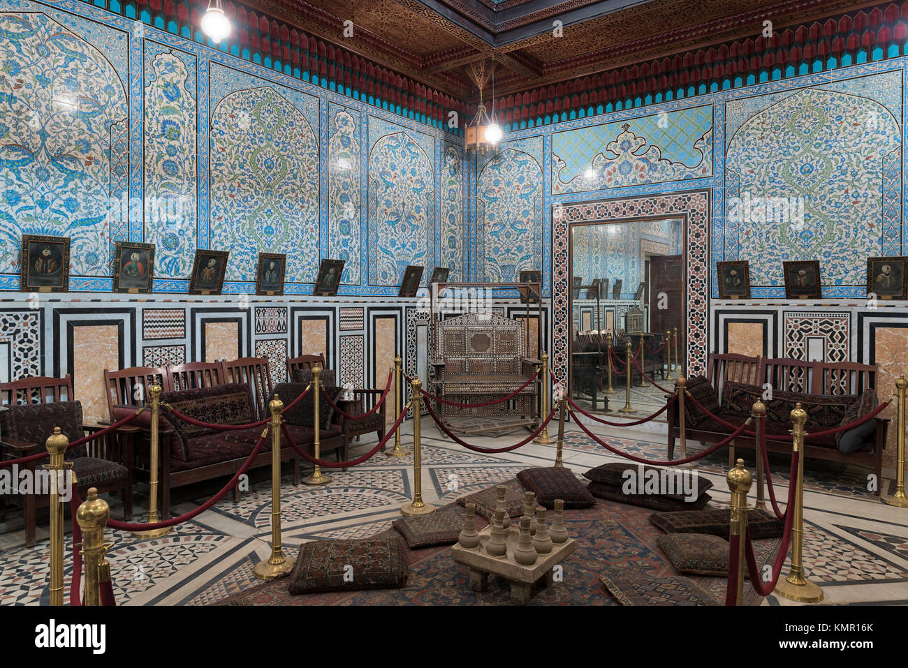 Cairo, Egypt - December 2 2017: Manial Palace of Prince Mohammed Ali. The mirrors room at the residence building - Stock Image