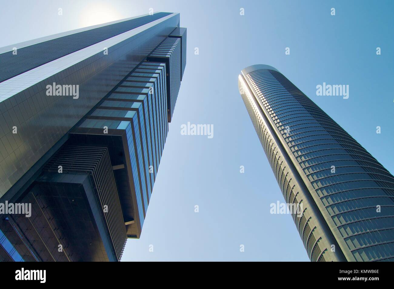 Two skyscrapers from below in Madrid, Spain Stock Photo
