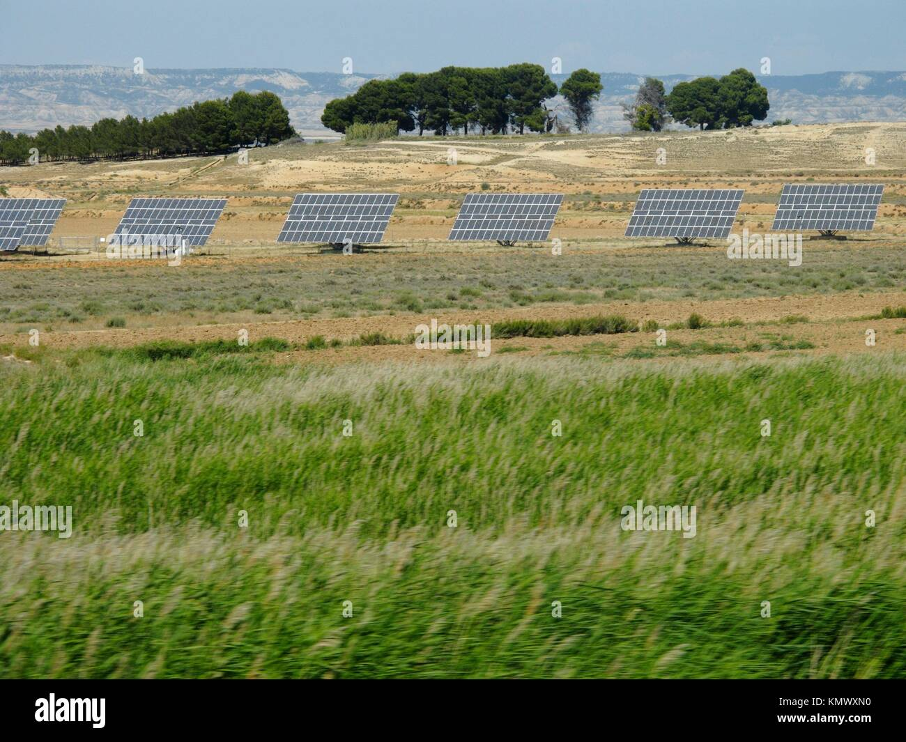 solar cells in the fields of Navarra - Stock Image
